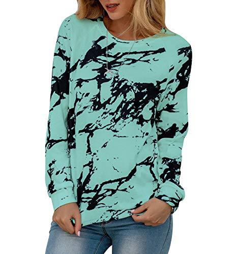 HenzWorld Camiseta Holgada Informal para Mujer Blusa Básica de Manga Larga con Efecto Tie Dye Blusa Tipo Jersey para Mujer (Verde Talla M)