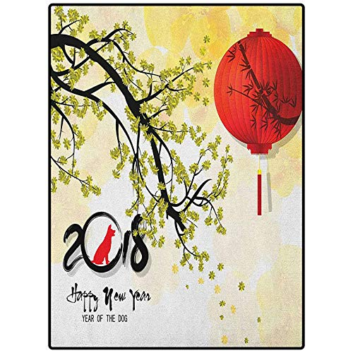 Year of The Dog Bedroom Rugs Indoor and Outdoor Happy New Year Thriving Tree Branch and Balloon on Sakura Bloom Background Multicolor 21' x 59'