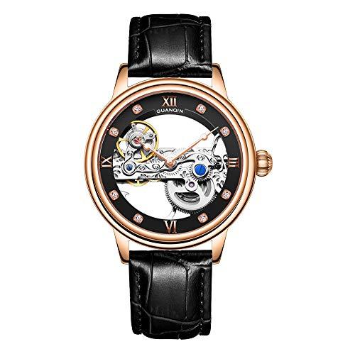Guanqin - Reloj de pulsera mecánico automático automático con mecanismo de esqueleto luminoso para hombre, con correa de piel, Negro dorado