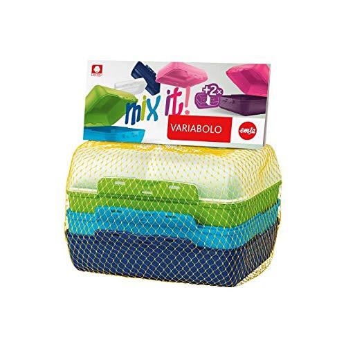 emsa Brotdose VARIABOLO Clipbox Set Boys, 4-teilig, farbig, Sie erhalten 1 Packung, Packungsinhalt: 4 teilig