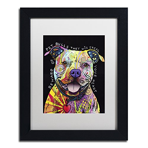 Beware of Pit Bulls by Dean Russo, White Matte, Black Frame 11x14-Inch