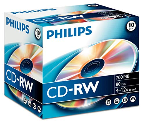 Philips 10 x CD-RW - 700 MB (80 Min) 4X - 12x - Speichermedium
