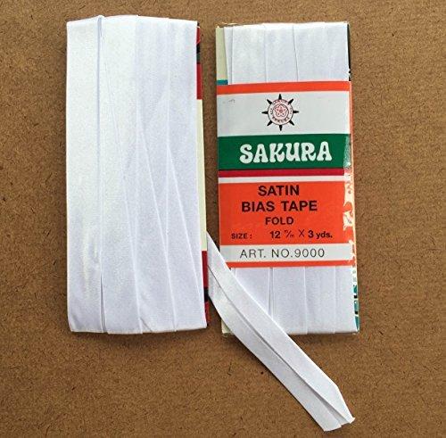 Sakura Satin Bias Tape Fold - Single Fold # White Color 12 Mm. (3 Yards / Pack) Set of 4