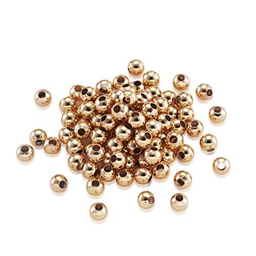 Cheriswelry 400 cuentas de espaciadores redondos de 3 mm, chapado en oro de 18 quilates, metal de latón pequeño, bolas lisas para joyas, pulseras, manualidades, agujeros: 1 mm