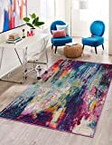Unique Loom Chromatic Collection Abstract Modern Colorful Kids Multi Area Rug (5' 0 x 8' 0)