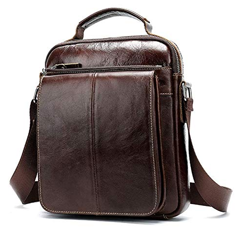 Herren Umhängetasche, Leder Umhängetasche Vintage Echtes Leder Vertikale Schulter Umhängetasche Für Geschäftsreisen