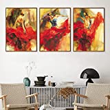 Dance Canvas Wall Art Spanish Flamenco Dancing Red Dress Lady Canvas Wall Decor for Girls Dancer Posters Prints for Girls Bedroom Decor Dance Canvas Pictures Art Prints for Gifts 20x28inchx3 No Frame