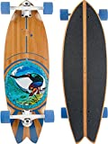 JUCKER HAWAII PAU Hana Monopatín Cruiser Longboard - White Trucks - Surfcruiser Fishtail Tabla Larga de Bambú