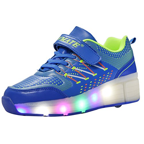 VMATE PU Blue Boy Girl LED Light Up Roller Wheel Skate Sneaker Sport Shoes Dance Boot