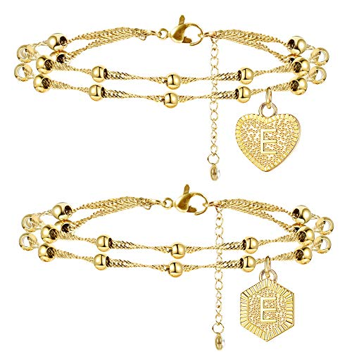 Jstyle 2Pcs Stainless Steel Initial Ankle Bracelets for Women Double Layered Gold Alphabet Initial Anklets