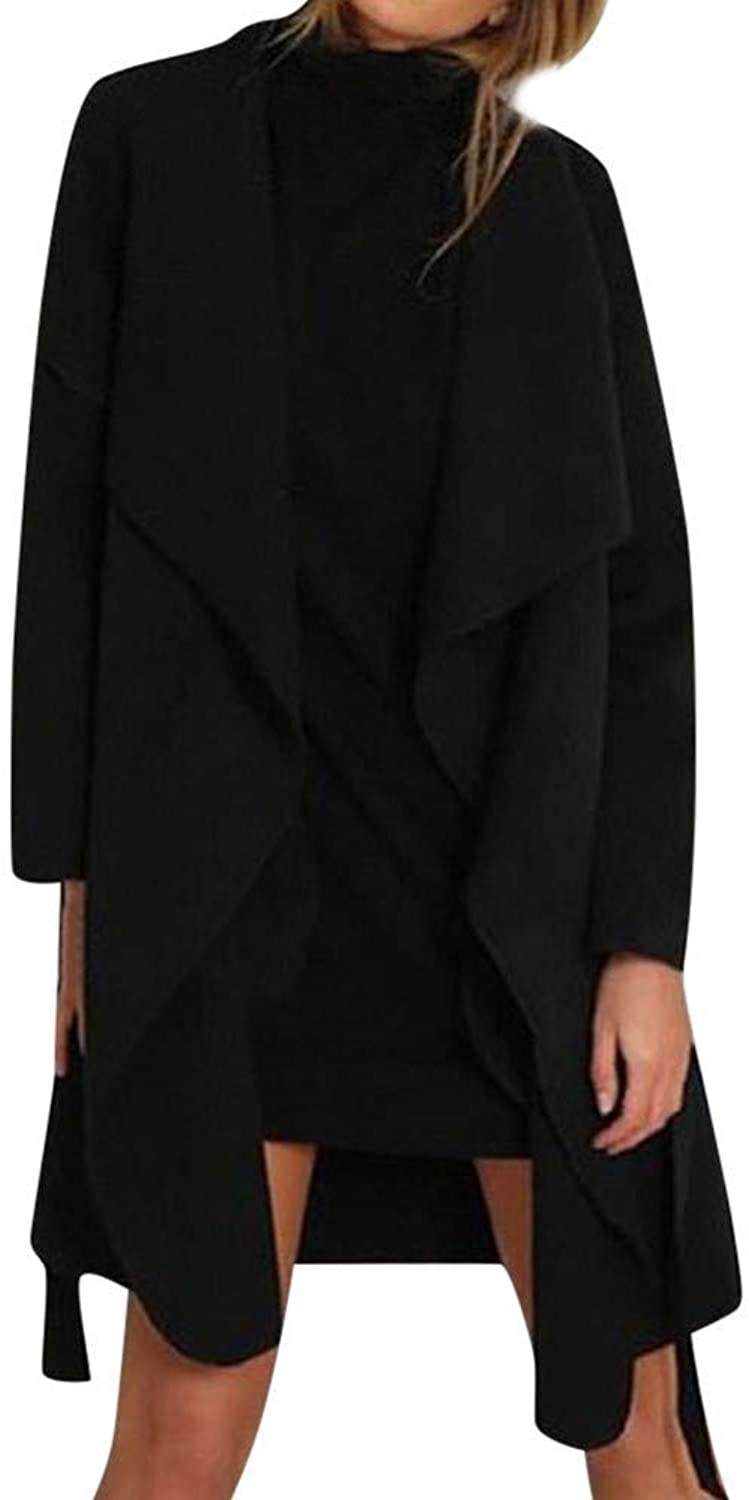 Clothing Clothing Women Ladies Long Sleeve Cardigan Coat Suit Top Open Front Jacket Outwear Fashion Cosy Wild Tight Super Quality Grey Brown Black for Womens (color   black, Size   M)