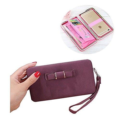 SevenPanda Phone Wallet für Mädchen, 2018 Damen Long Style Handtasche Geldbörse Zippe Geldbörse Damen Multi-Card Handy Tasche für Huawei P8 Lite P9 Lite 2017 P20 Lite Samsung S9 iPhone 8 - Weinrot