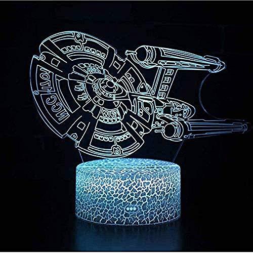 BTEVX Lámpara de ilusión óptica de acorazado de Star Trek, lámpara LED 3D, luz nocturna, 7 colores táctiles, cambio de atmósfera, interruptor táctil de grieta