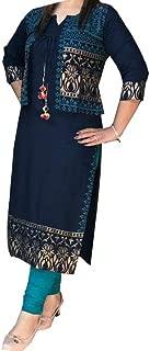 Ashwati Women's Rayon Printed Straight Kurti
