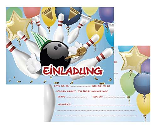 Kreatives Herz Bowling Einladungskarten zum Kindergeburtstag (10er Set) für Mädchen und Jungen Bunte Einladungen A6 Kinder Party Kindereinladungen (10 Karten) (10 Karten + 10 Umschläge)