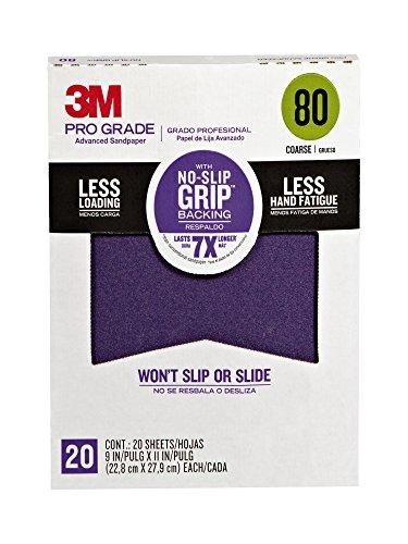 3M 26080CP-P-G Pro Grade No-Slip Grip Advanced Sandpaper, 9-Inch x 11-Inch, 80 Grit, Pack of 20