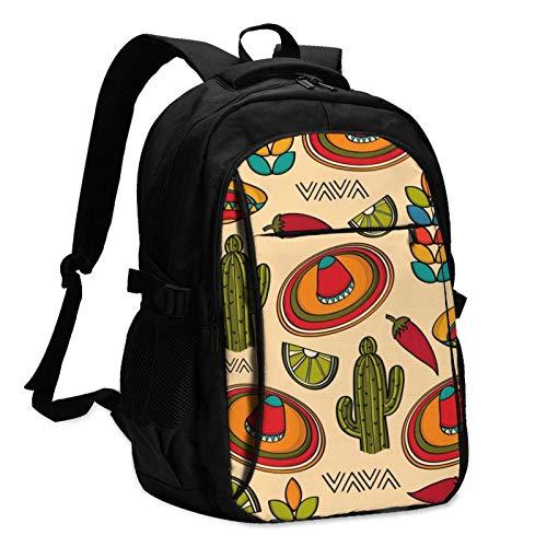 XCNGG Mochila USB con múltiples Bolsillos, Mochila Informal, Mochila Escolar Mexico Symbols Cactus Hat Unisex Travel Laptop Backpack with USB Charging Port School Anti-Theft Bag