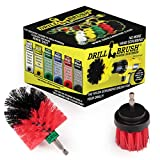 2 Piece Mini Size Long Bristle Red Stiff Bristle Rotary Cleaning Drillbrushes for Cleaning Siding, Brick, Stone, Fireplaces, Decks, Gutters, and More by Drillbrush