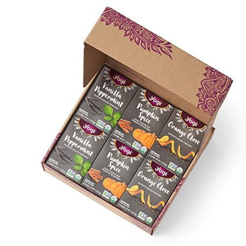 Yogi Tea - Winter Tea Variety Pack (6 Pack) - New Seasonal Offering Includes Pumpkin Spice, Orange Clove, and Vanilla Peppermint Teas - Gift Box Packaging - 96 Tea Bags