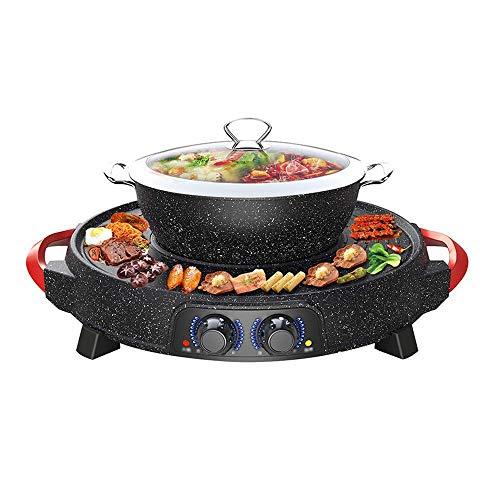 YFGQBCP Parrilla Cubierta, revestida de cerámica-sobremesa Grill y Hot Pot, Antiadherente Caliente...
