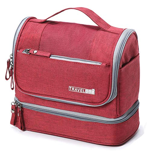 WYTartist Hanging Travel Toiletry Bag for Men and Women with Dry and Wet Separation 2 Layers Design (Red)