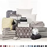 OCM College Dorm Room 27-Piece Varsity Collection | Twin XL Bedding with Topper, Comforter, Towels, Storage and More | Destin Black | Geometric in Soft Gray, Striped Sheets