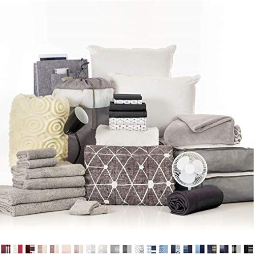 OCM College Dorm Room Essentials 27-Piece Varsity Collection, Twin XL Bedding & Bath Set with Mattress Pad, Topper, Pillows, Sheets, Towels, Comforter and More in Destin Black