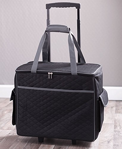 Rolling Sewing Machine Tote with 6 Storage Pockets - Black