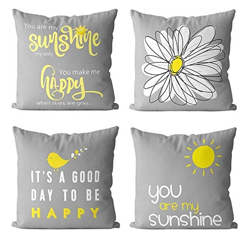 Gspirit Set of 4 Cushion Covers 45cm x 45cm, Happy Sunshine Tree Cushions Decorative Square Cute Throw Pillow Case Pillowcases for Couch Livingroom Sofa Bed with Invisible Zipper