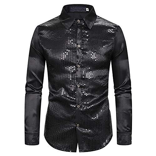 XSMG heren overhemden metallic glanzend shirt met lange mouwen glitter slank fit kostuum voor nachtclub party dansen disco cosplay