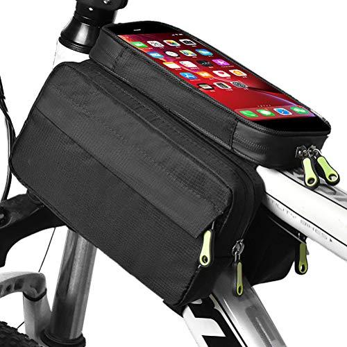 Fahrradtasche, Fahrrad Rahmentasche, Fahrrad Handytasche, Empfindlicher Touchscreen, Oberrohrtasche Handy Tasche, Wasserdicht, Radfahren Vorne Top Tube, Fahrrad Lenkertasche für MTB