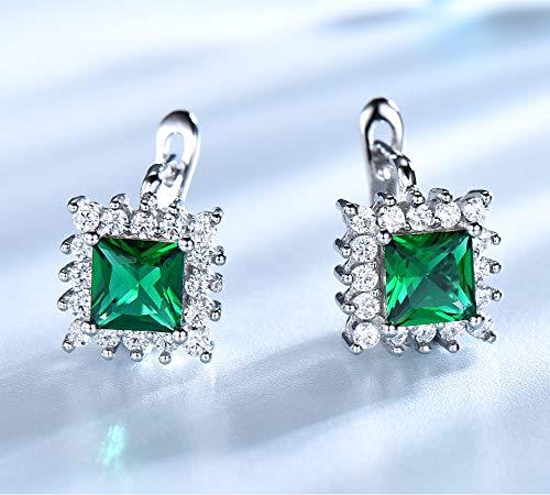 SHIJING Verde Esmeralda de la Vendimia del Clip Pendientes para Las Mujeres del sólido 925 joyería de Plata esterlina Partido clásico Regalo de la joyería Fina Nueva