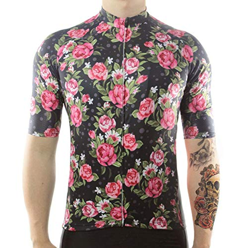 HDDNZH Mens Cycling Jersey - Summer Short Sleeve Peony Flower Printing Large Size Top Shirt Quick Dry Mtb Bicycle Clothing Bike Wear Clothes For Racing Cycling Mountain Sportswear,M
