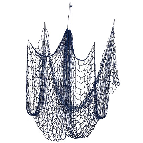 Fishing Net Decor for Home or Beach Party Decorations ( 79 x 60 Inches, Blue)