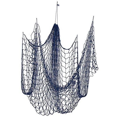 Decorative Nautical Fish Netting - Nautical Decor Cotton Sea Net for Sea, Beach, Fishing Theme Party, Mediterranean Style Fish Net Home Decorations - Blue, 79 x 50 Inches