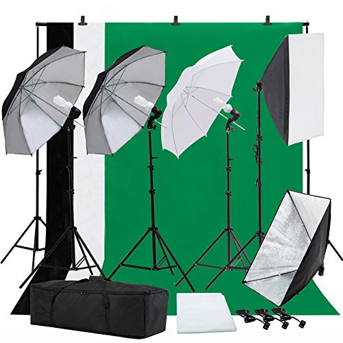 SUNCOO Photo Studio Photography Lighting Kit, Background Support Stand Kit 6.6ft x 10ft, Green Screen with Stand,Umbrellas Softbox Muslin Continuous Light Kit Case Portfolio Video Shooting, 4 Bulbs