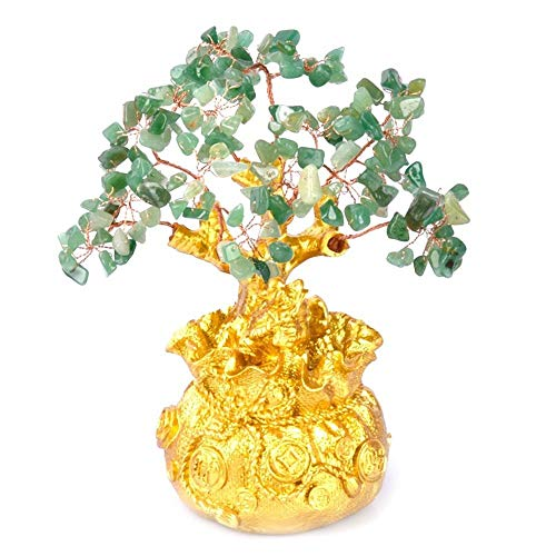 NL Mini Crystal Árbol del Dinero, Bonsai Estilo Riqueza Suerte Feng Shui Trae Oro Riqueza Suerte Decoración del Hogar del Regalo De Cumpleaños (Color : Green)