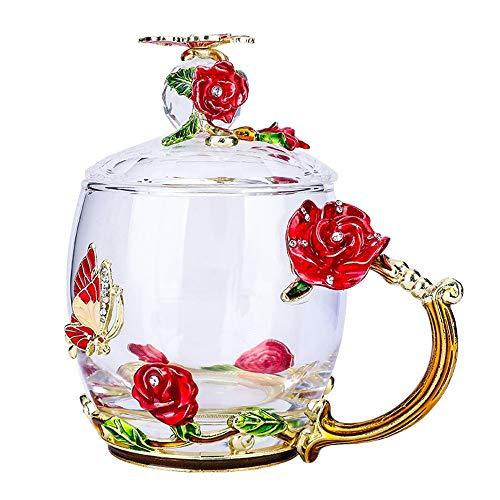 KX-YF Tazza e piattino Tazze da caffè Tazze da caffè San Valentino Compleanno Capodanno Regalo for Le Donne, Decorazione Regalo di Nozze Home Office Service Set (Colore : Rosso, Dimensione : 320ml)