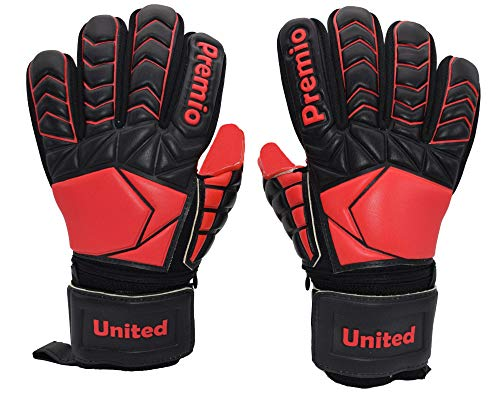Redi Soccer Goalkeeper Gloves with Pro-Level Grip and 5 Finger Protection, Red Palms with German Contact Latex, Designed in The USA