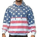 Licensed Mart Unisex Proud American Flag PullOver Hoodie Sweatshirt 4017 Red/White/Blue 2XL