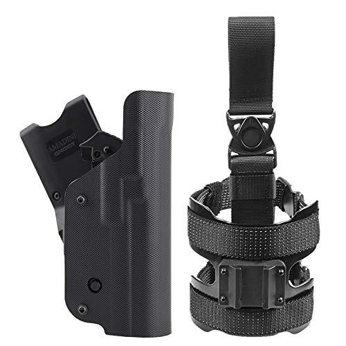 Ghost - Fondina Tattica Ghost III per Forze di Polizia e Militari, con Attacco Cintura Girevole e cosciale, Pelle Interna, Colore Nero, Moduli intercambiabili (Beretta 92-92A1-96-98 Destra)