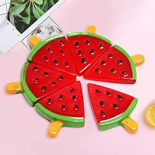 PERIWIN Handy-Dekoration, 6 Stück, süße Wassermelone, Eislolly Harz, Flache Rückseite, DIY Mini Handwerk Handy-Dekoration