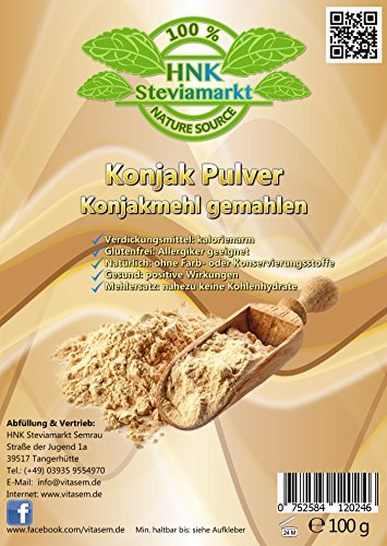Konjak Pulver (Konjakmehl) gemahlen 100g - ideal zum Abnehmen - natürliche Unterstützung bei Diäten - Verdickungsmittel zum Backen und Kochen