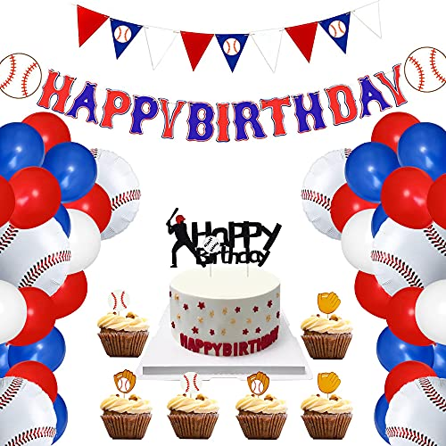 60PCS Baseball Birthday Party Supplies Including Banner, Triangle Bunting Flag, 10-inch Latex Balloons, 18-inch Baseball Balloons, Cake and Cupcake Toppers for Baseball Themed Party Decorations