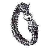YWZQ Pulsera de cabeza de lobo para compartir vikingo, cabeza de fenrir – Pulsera de acero...