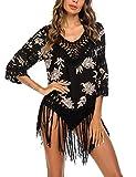 ADOME Poncho de playa para mujer, túnica, bikini, cubierta de punto, vestido corto de playa, con bor...