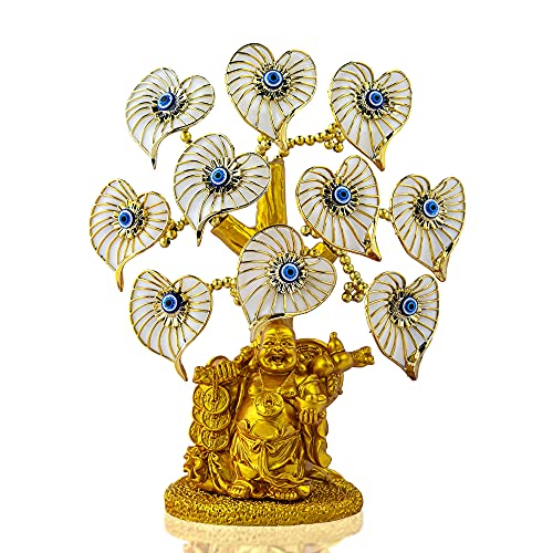 Blue Evil Eye Money Tree with Painted Golden Buddha Statue White Artificial Flowers Home Office Protection Decoration Feng Shui Ornament