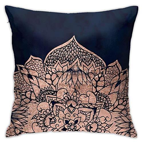 Fundas de almohada decorativas de mandala floral de oro rosa, 18 x 18, 3D de representación cuadrada doble