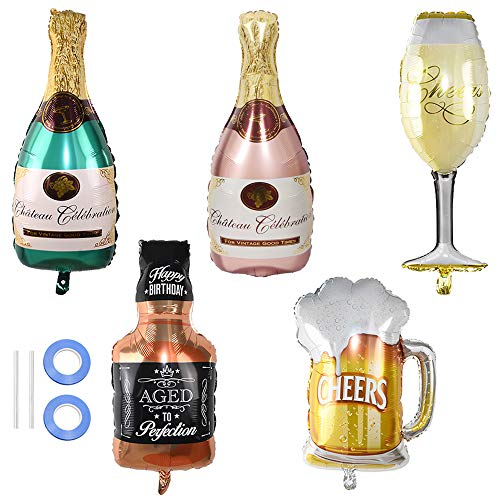 Ceqiny 5pcs Aluminum Foil Balloons Set Champagne Bottle and Wine Goblet...
