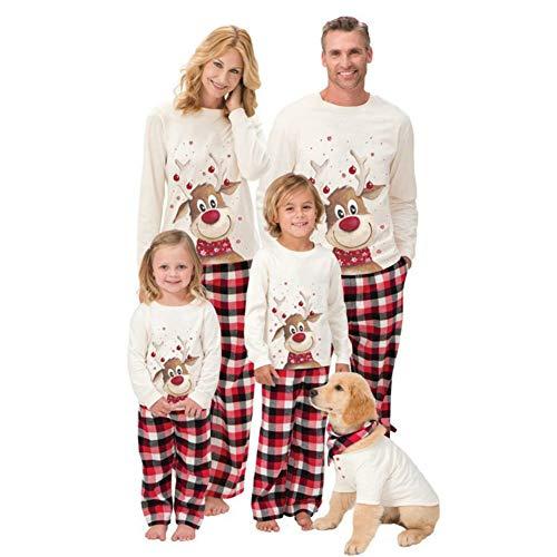 W&TT Conjunto Pijamas A Juego para Familia de Navidad Camiseta Manga Larga y Pantalones A Cuadros Rojos Ropa de Estar Papá Mamá Niños Niñas Pijamas Perros para Conjunto de Regalo,Men M